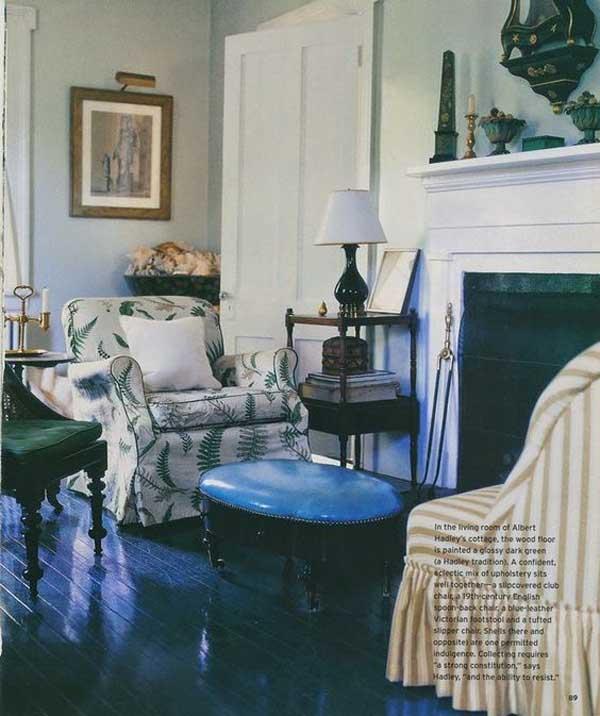 Living room with black painted wood floors