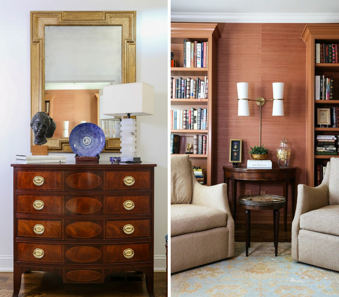 Photo of interior design by Pam Chatham showcasing a hall entry with chest of drawers and mirror and a study with two upholstered chairs and book cases.