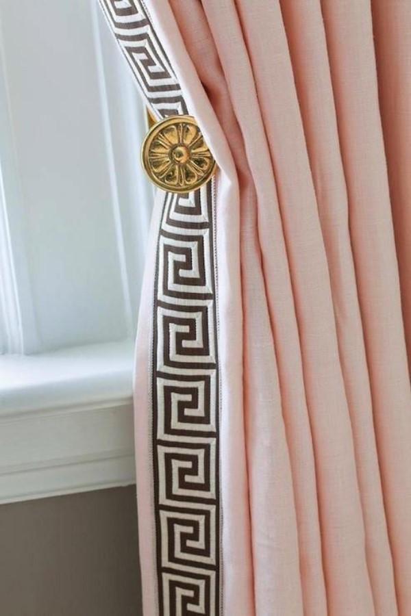 Pink drapes with geometric trim