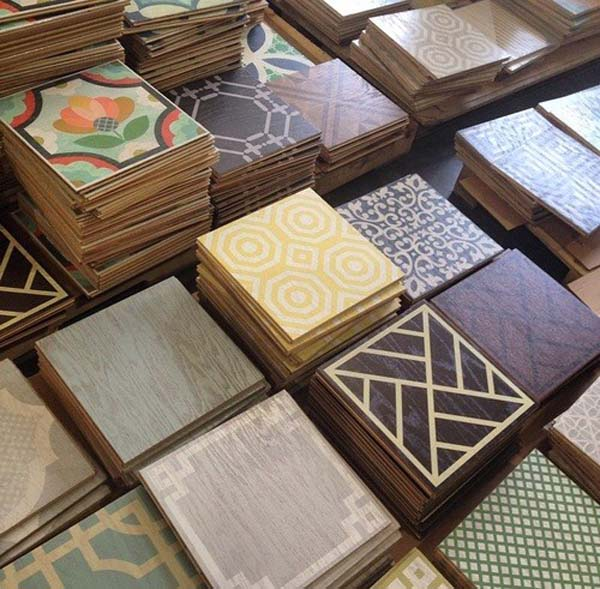 Stacks of colorful tiles
