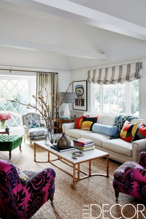 Combined window treatments in a living room