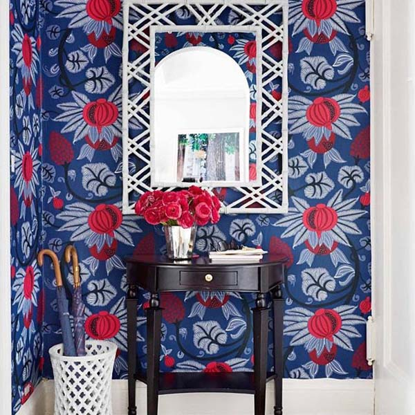 Foyer will blue and red wallpaper