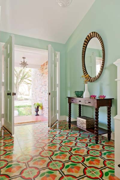 Foyer with colorful tiled flooring